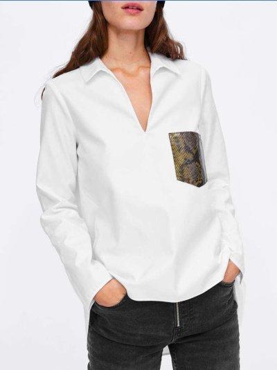 Fashion V neck Long sleeve Chiffon Blouses