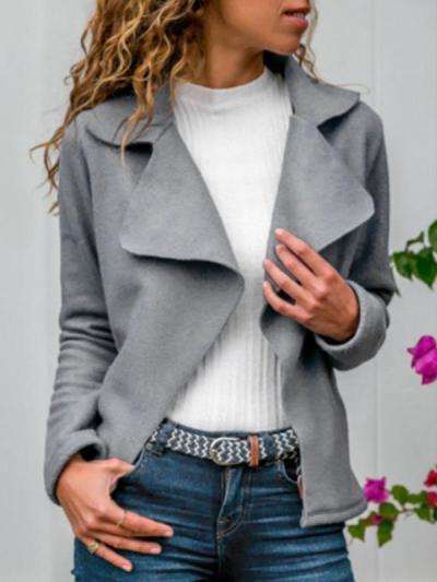 Ins causal women big lapel plain Trench Coats