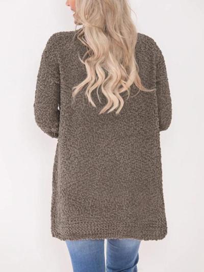 Plain Long sleeve Cardigan Pocket Knit Coat