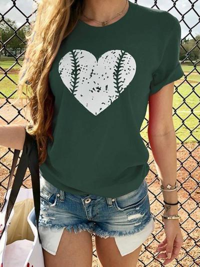 Baseball Heart Design Printed Daily T-shirts