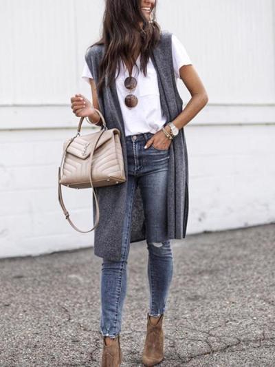 Big lapel women plain sleeveless vest coats