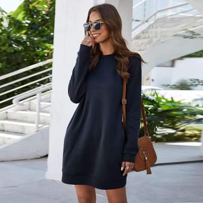 Fashion Pure Round neck Long sleeve Shift Dresses