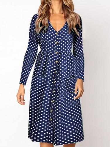 Polka Dot printed v neck fashiong long sleeve shift dresses