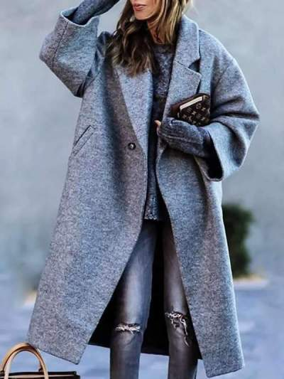 Women's simple casual daily big lapel medium long coats