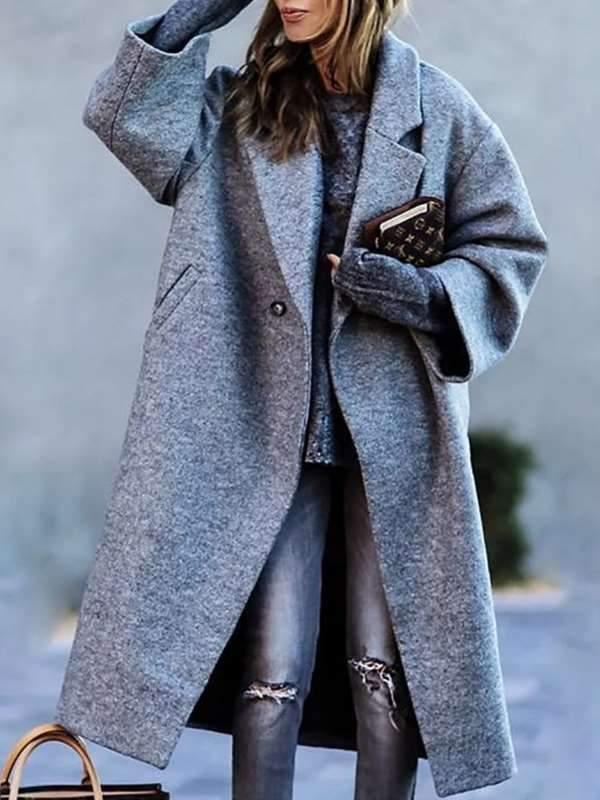 Women's simple casual daily big lapel medium long coats