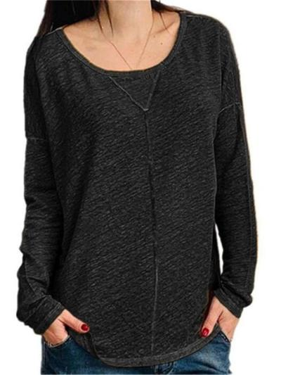 Casual Loose Round neck Long sleeve T-Shirts