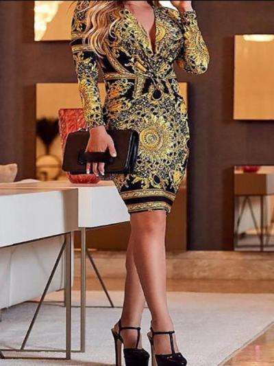 Elegant printed tie waist long sleeve bodycon dresses