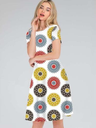 Fashion Print Round neck Shift Dresses