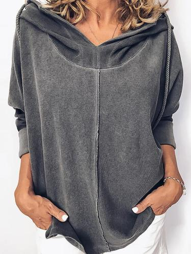 Hooded patchwork long sleeve plain hooied