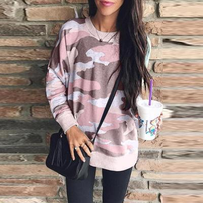 Round Neck Camouflage Printed Long Sleeve Loose T-Shirts