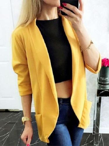 Casual Pure Long sleeve Blazer