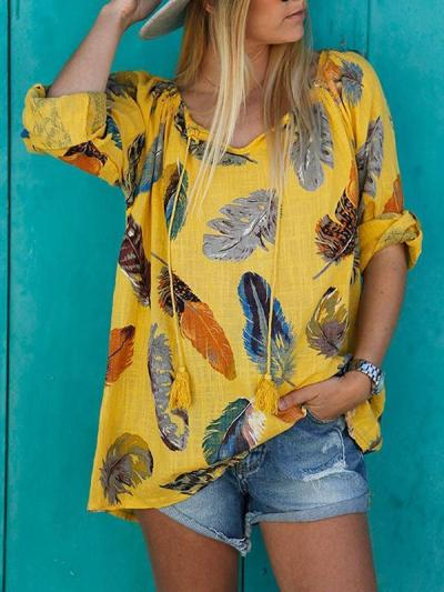 Loose long-sleeve loose feather printed Shirts