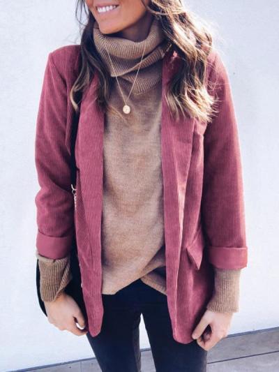 Loose pocket decorative solid color blazer coats