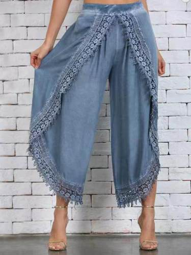 Lace harlem pants wide-leg pants for women