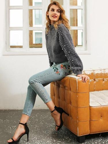 Gray Puff Sleeves Beading Sweater Tops