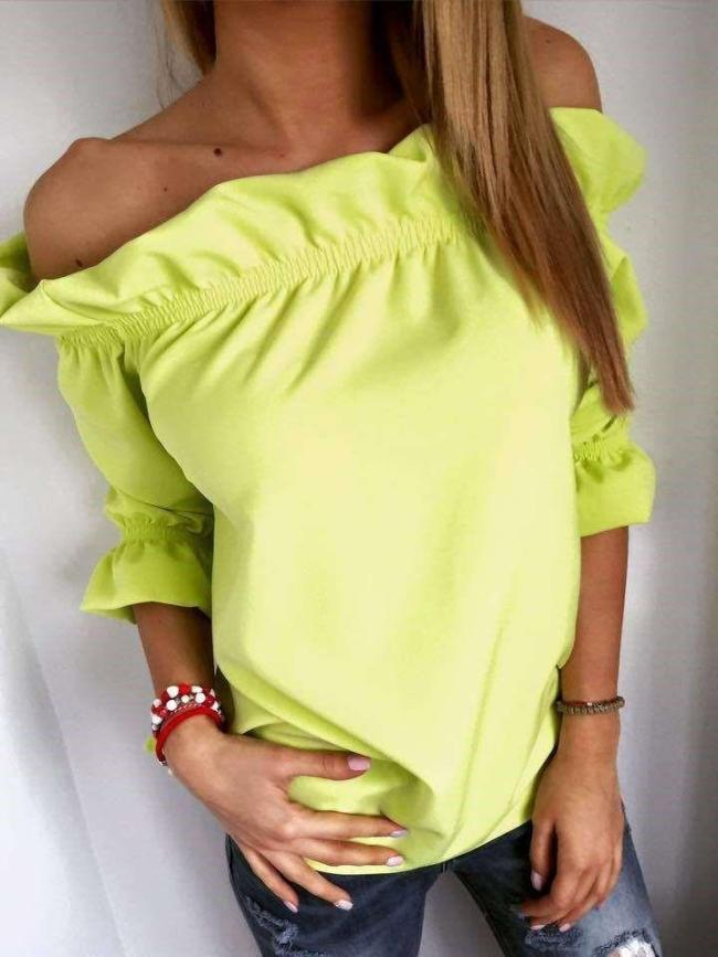 Fashion Pure One shoulder Half sleeve Falbala T-Shirts