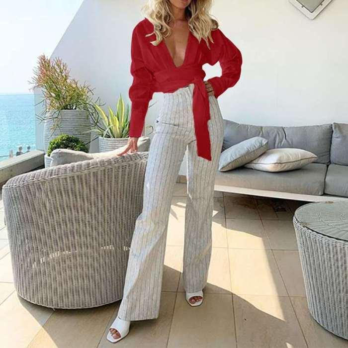Fashion Lacing V neck Long sleeve Blouse