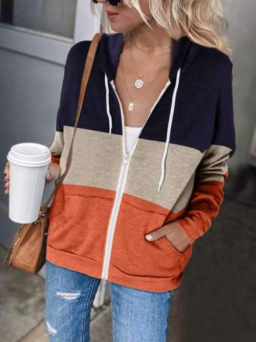 Women Zipper long sleeve hooded pocket casual hoodied