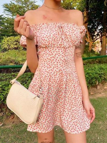 Fashion One shoulder Short sleeve Lacing Skater Dresses