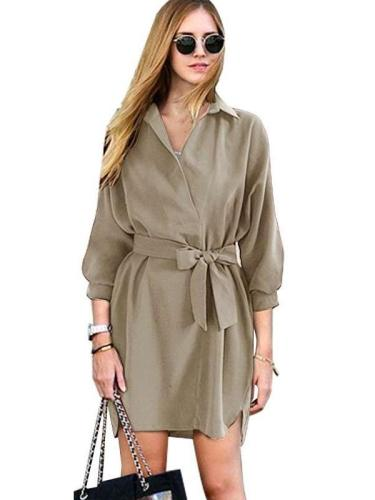 Fashion Loose Lapel Three quarter sleeve Lacing Skater Dresses