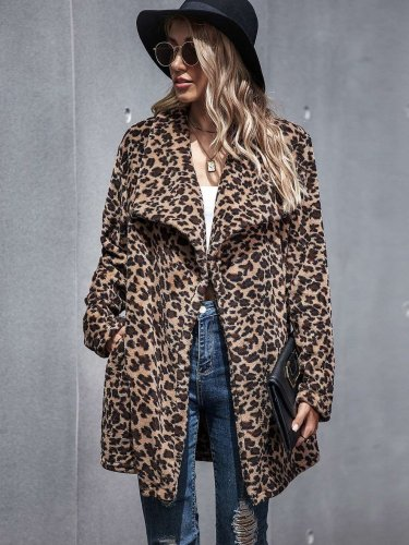 Fashion Casual Leopard print Lapel Long sleeve Coats
