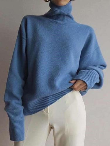 Fashion High collar Pure Long sleeve Sweaters