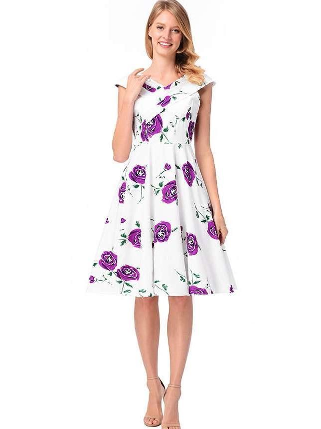 Fashion Print V neck Skater Dresses