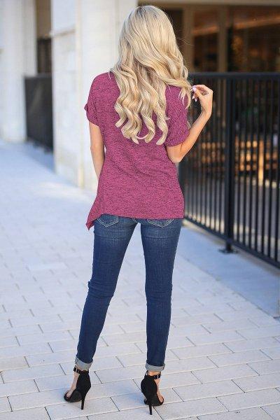Women Round neck Irregular Short sleeve T-Shirts