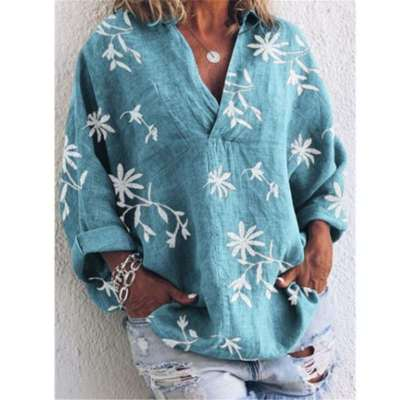 Loose V neck Print Long sleeve Blouses