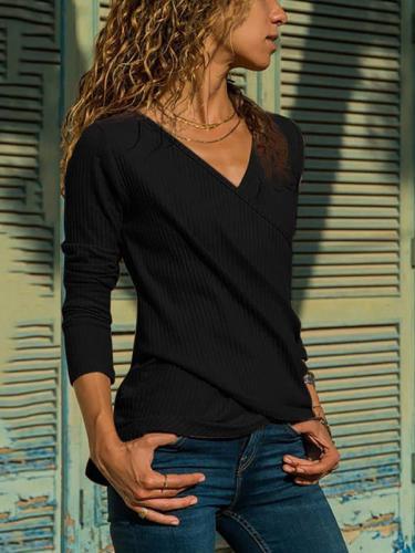 Women plain v neck special design long sleeve T-shirts