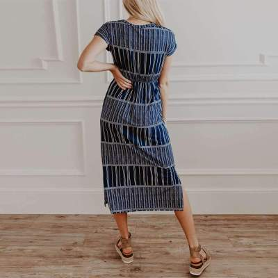 Casual Stripe Round neck Short sleeve Lacing Maxi Dresses