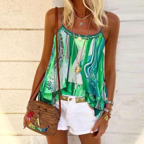 Fashion Loose Casual Print Falbala Vests