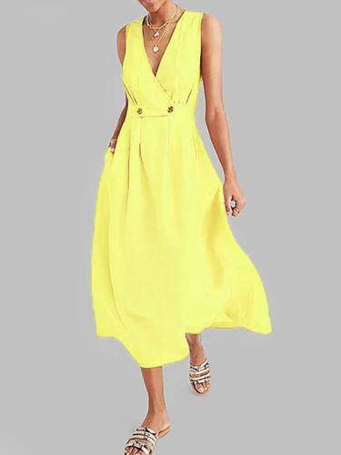 Women deep v neck sleeveless big hem maxi dresses