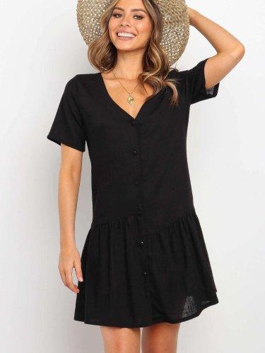 Fashion Pure V neck Short sleeve Shift Dresses