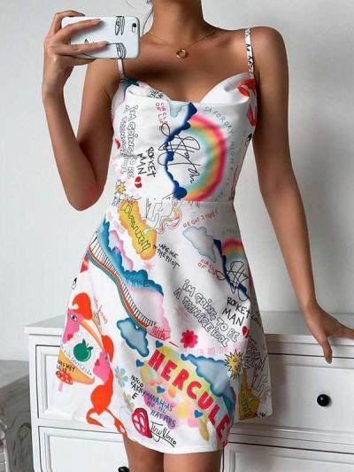 Fashion Casual Print Vest Skater Dresses