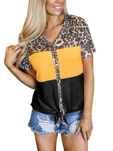 Fashion Gored Short sleeve V neck Fastener T-Shirts