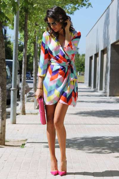 Casual Loose Print V neck Lacing Long sleeve Shift Dresses