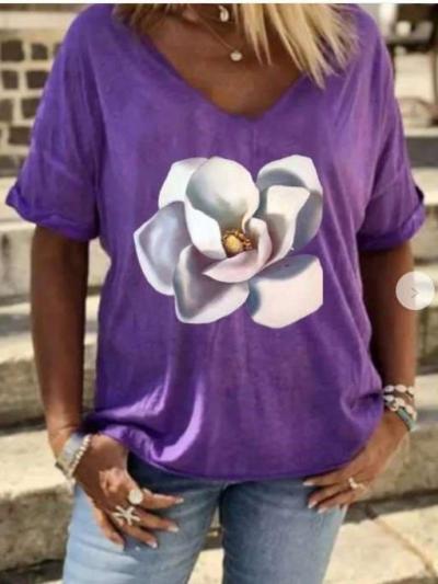 Casual Print V neck Short sleeve T-Shirts