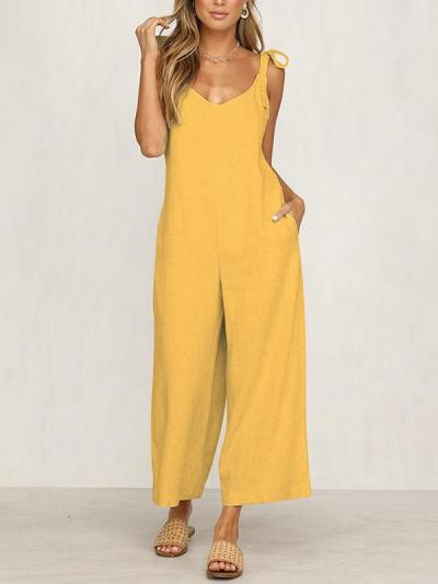 Fashion Woman Tie Loose Jumpsuits