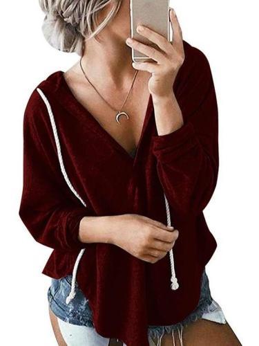 Fashion Loose V neck Long sleeve Hoodies