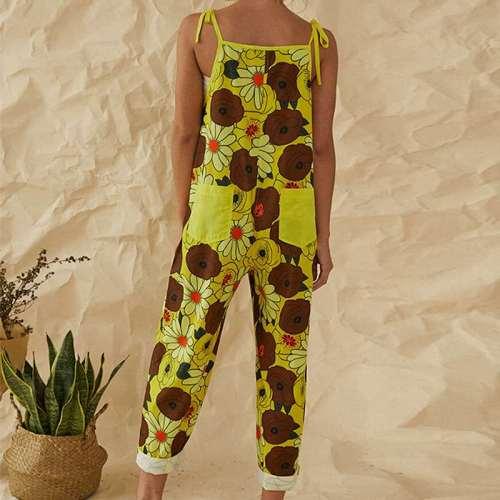 Casual Print Vest Sleeveless Jumpsuits