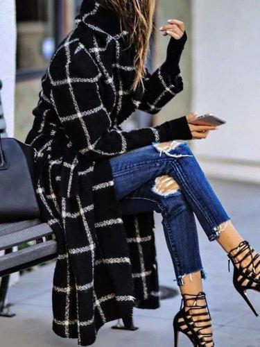 Fashion Plaid Long sleeve Coats