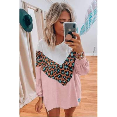 Fashion Casuasl Print Gored Round neck Long sleeve Sweaters