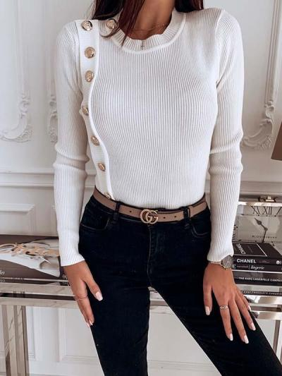 Button Decoration Slim Women Long Sleeve Knit Sweaters