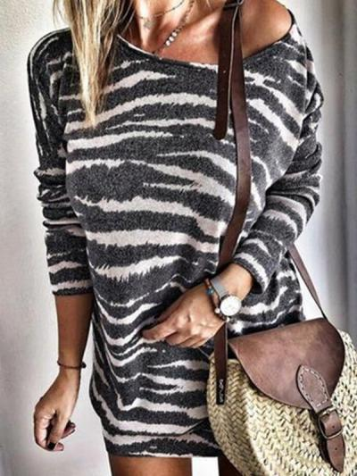Round neck stripe printed long sleeve large size shift dresses