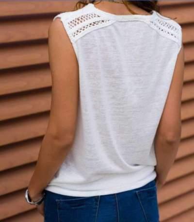 Fashion Pure V neck Sleeveless T-Shirts