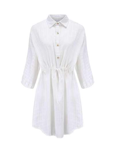 Fashion white turn down neck tie waist Loose shirt vacation dresses
