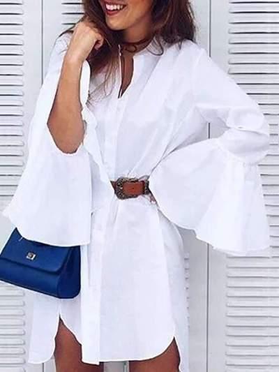 Fashion Long sleeve Pure Lapel  Mandarin sleeve Shirt Shift Dresses