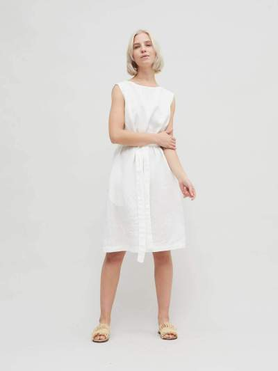 Casual Pure Round neck Sleeveless Lacing Skater Dresses