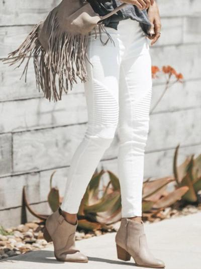 White long slim women long pants